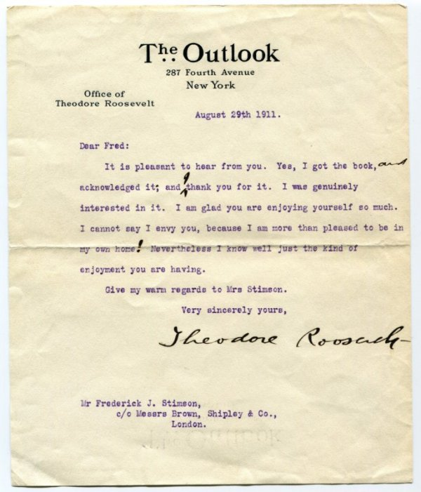 11: Autographed Letter, Theodore Roosevelt