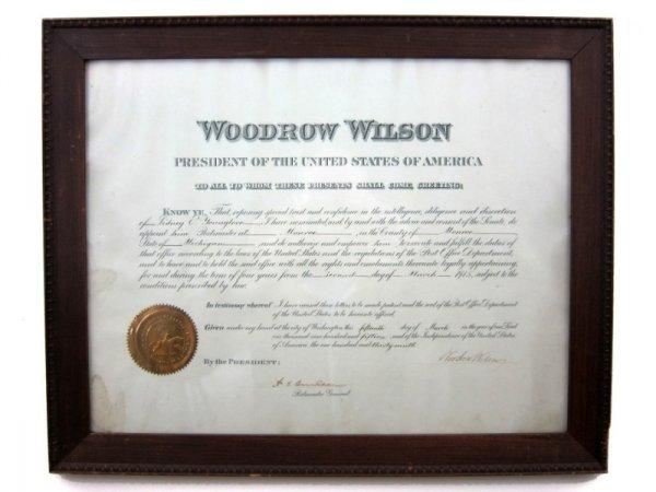 13: Autographed Document, President Woodrow Wilson