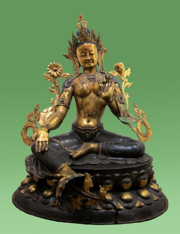 14: Magnificent Sino-Tibetan Gilt Bronze Green Tara