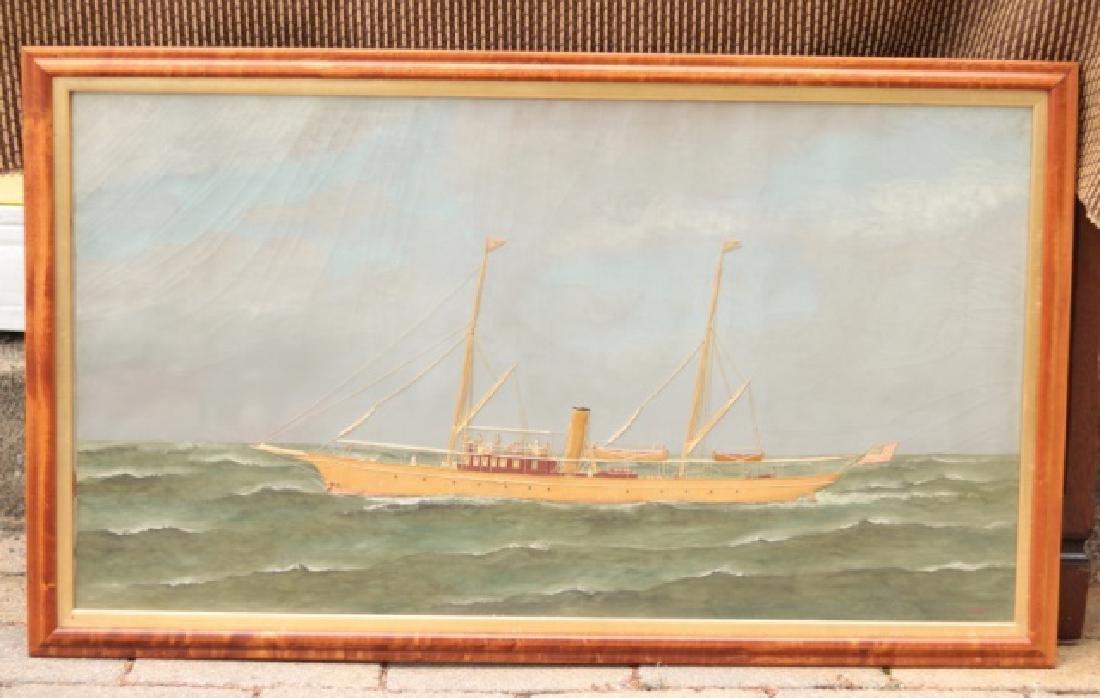 """T. Willis Painting of Yacht """"Neaira"""""""
