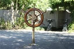 Ship's Wheel on Brass Pedestal