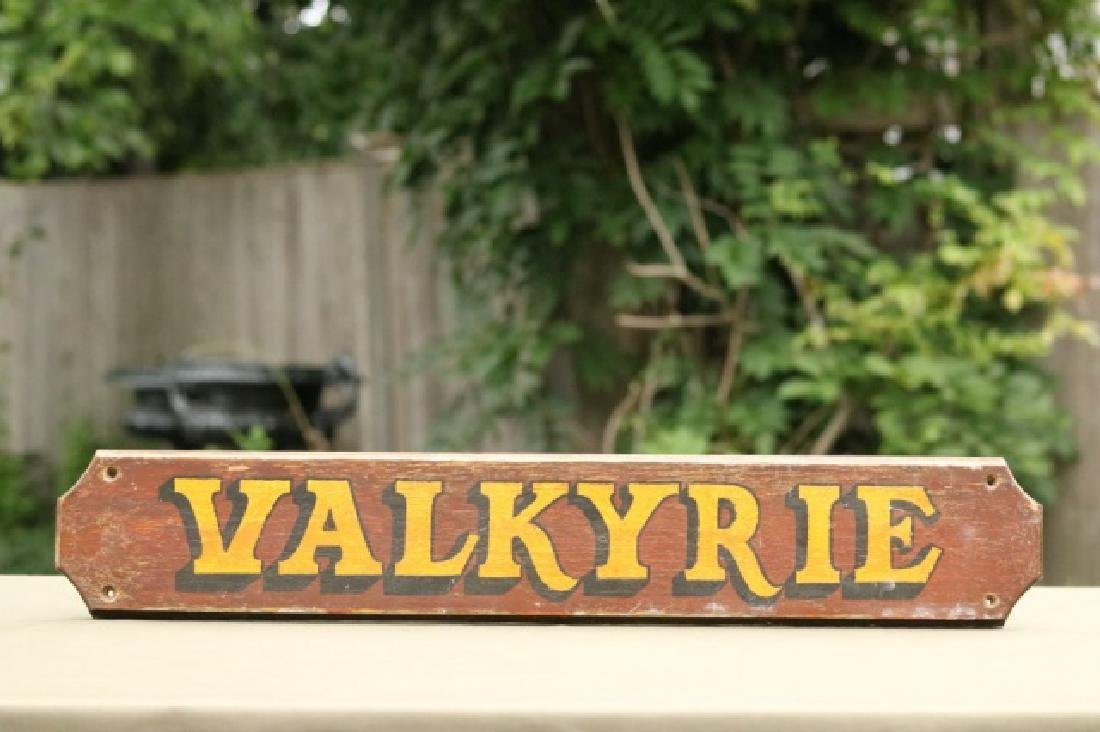 "Original nameboard of the yacht ""Valkyrie"""