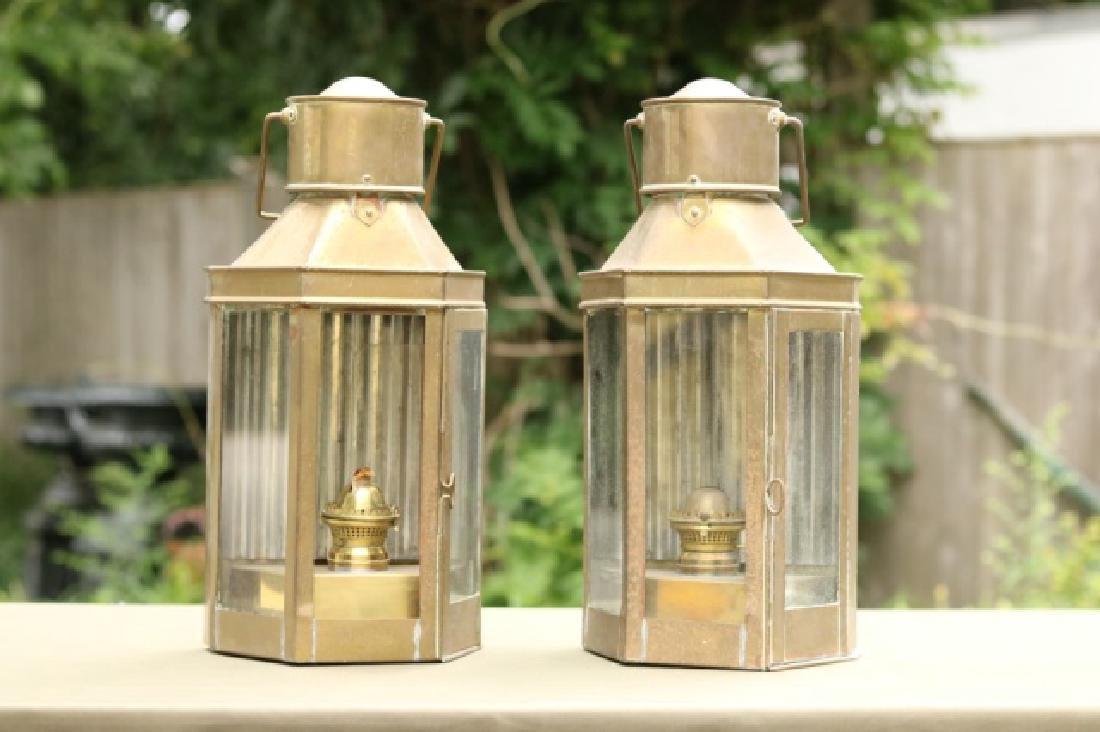 Large pair of brass bulkhead lamps.