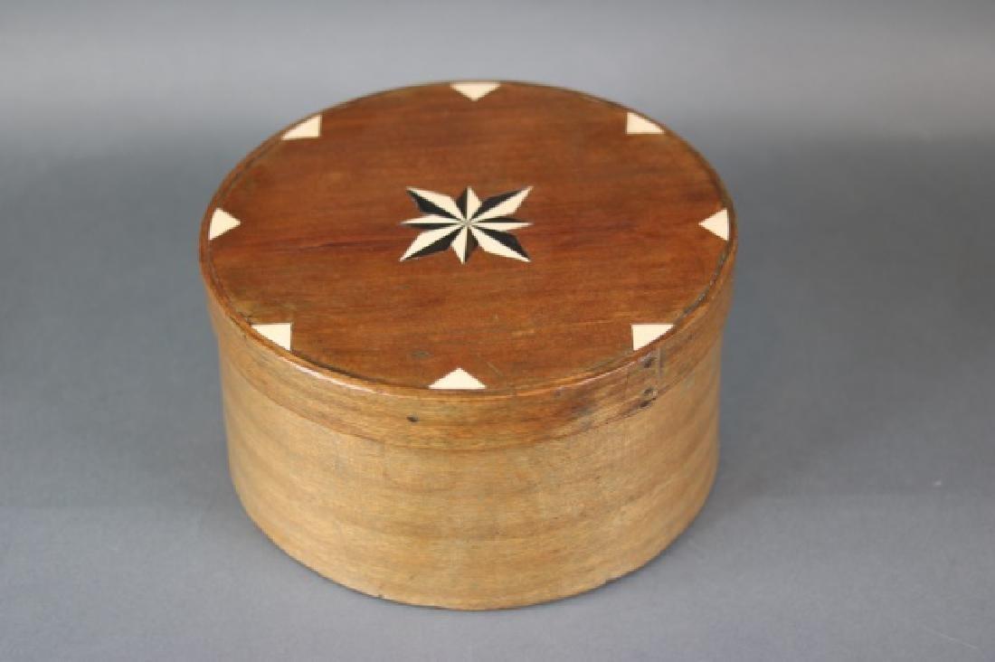 Round, Inlaid Wood Ditty Box