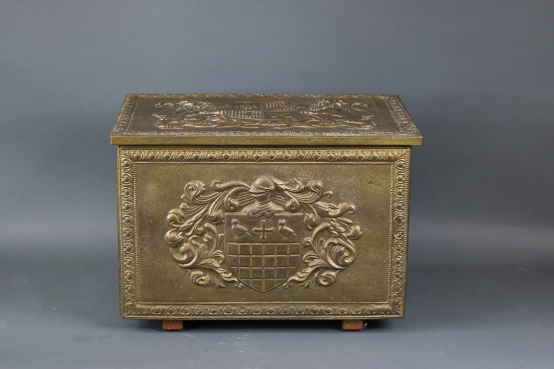 Brass Clad English Kindling Box