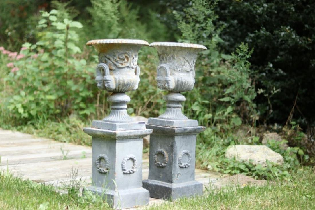 Pair of Iron Urns on Stands - 2