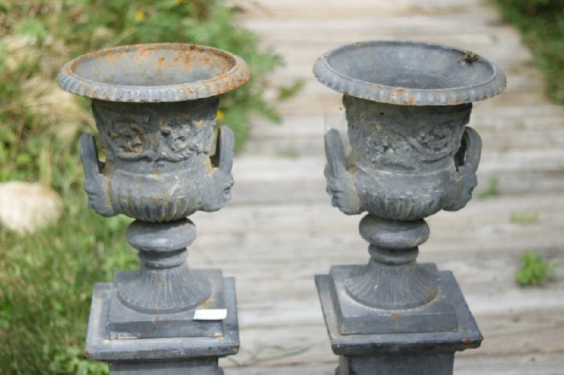 Pair of Iron Urns on Stands - 3
