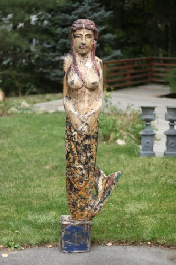 Large Carved Mermaid Figure