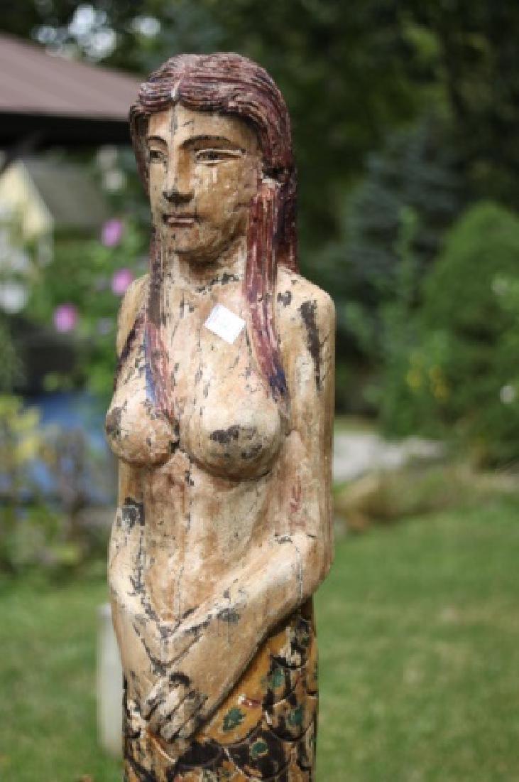 Large Carved Mermaid Figure - 2