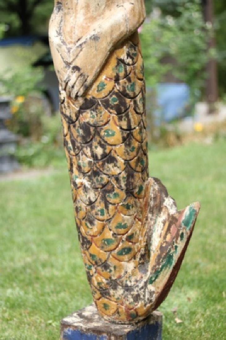 Large Carved Mermaid Figure - 4