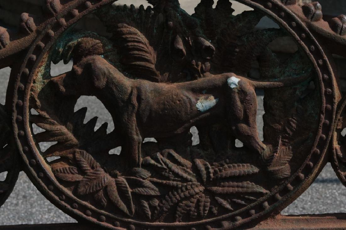 Iron garden bench with dog motif - 3