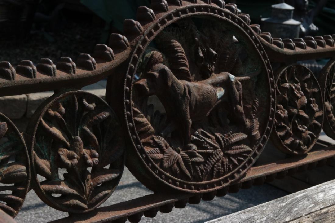 Iron garden bench with dog motif - 4