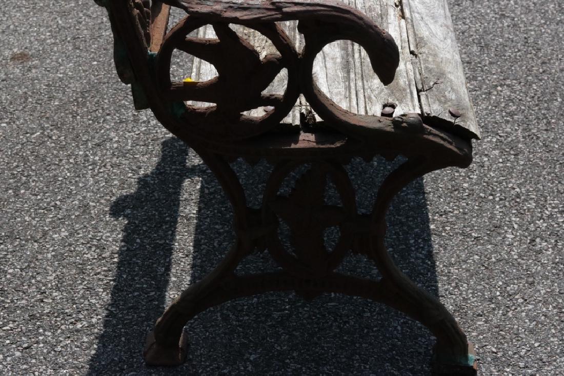 Iron garden bench with dog motif - 5