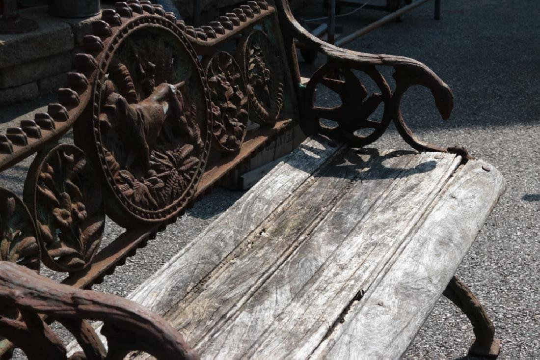 Iron garden bench with dog motif - 6
