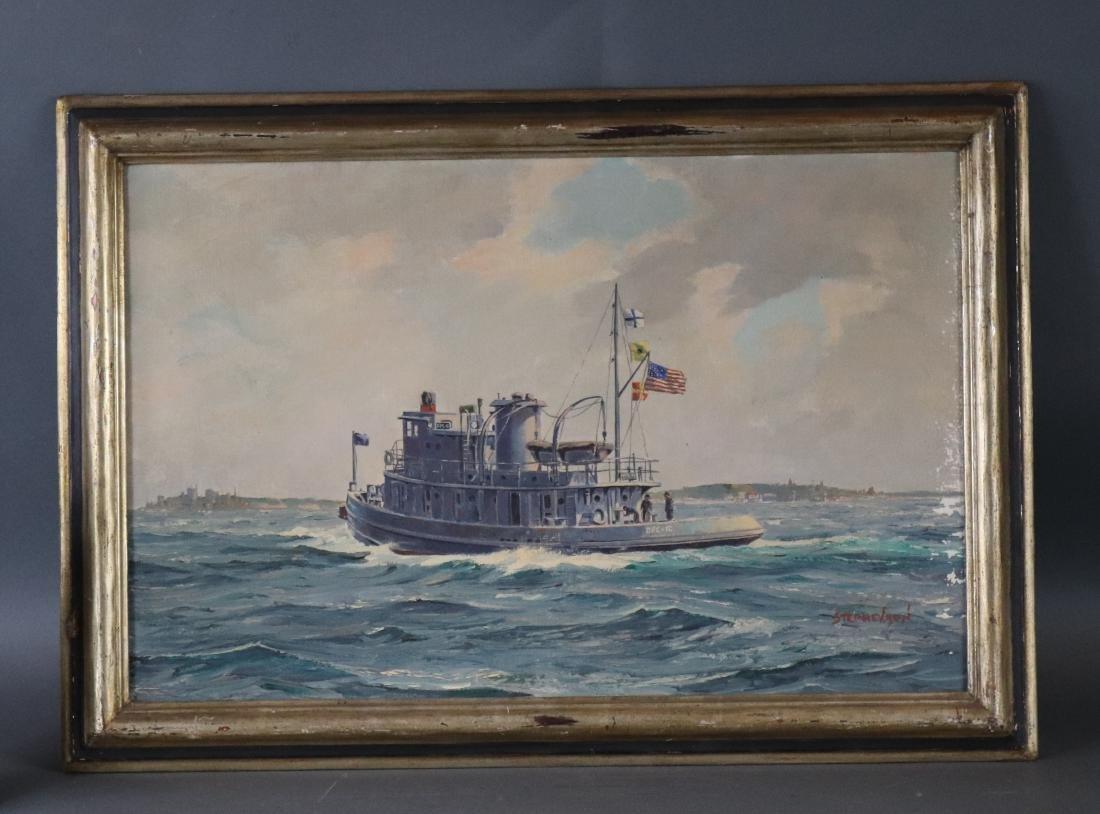 Boston built tugboat painting