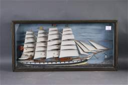 Four masted barque shadowbox