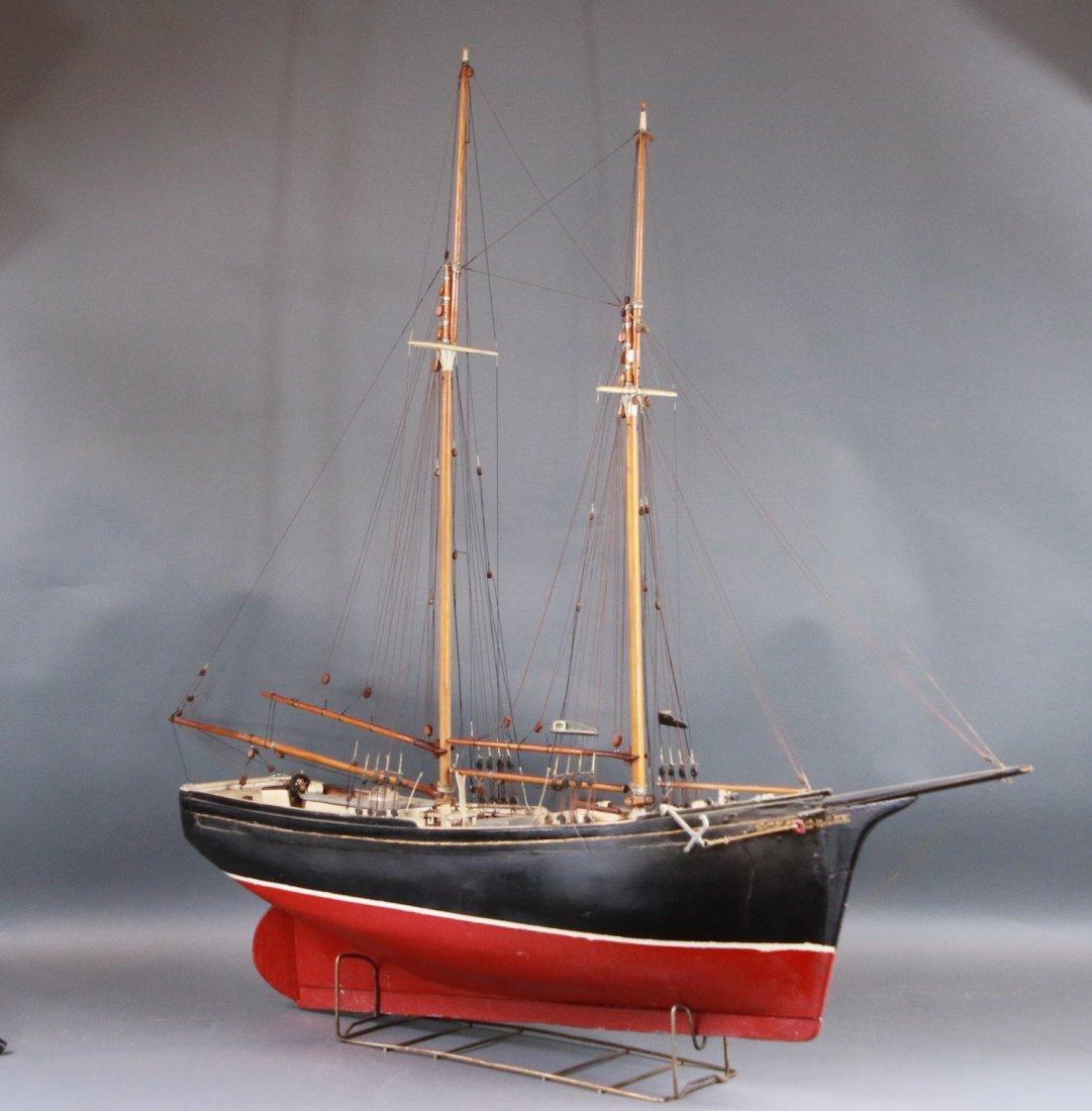 Antique model of a two-masted schooner