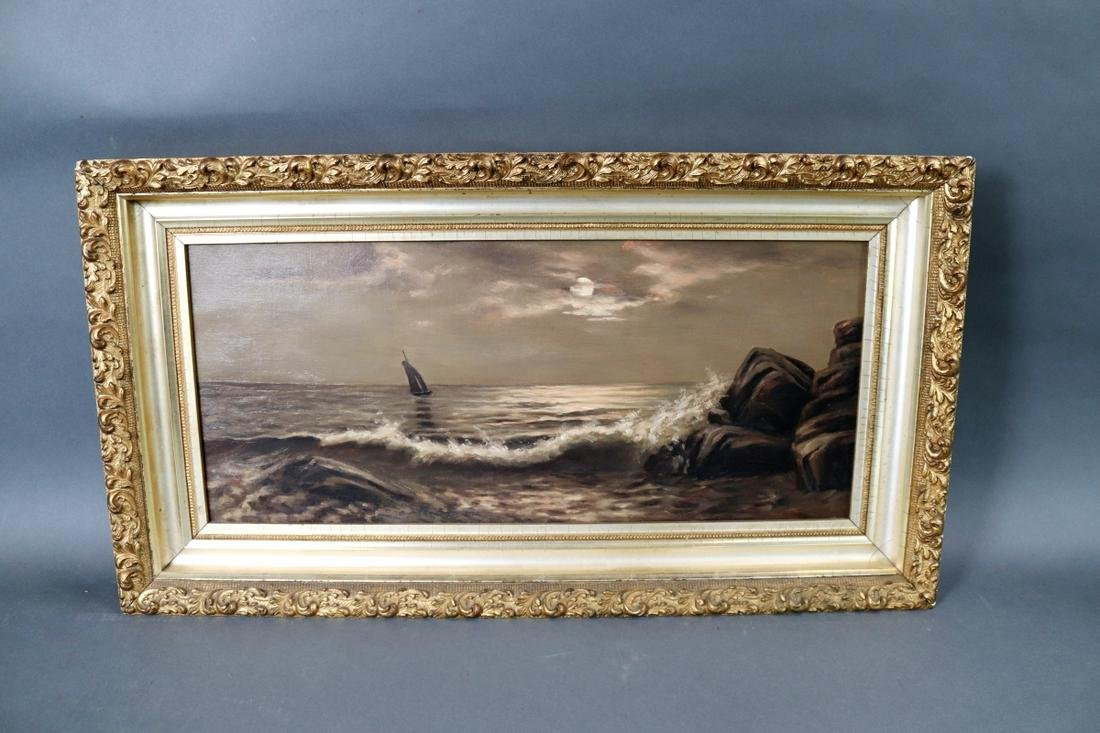 OIL ON CANVAS SEASCAPE PAINTING