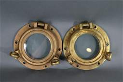PAIR OF SOLID BRASS PORTHOLES
