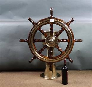 Solid brass ships wheel steering station