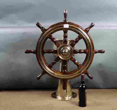 Solid brass ships wheel steering station