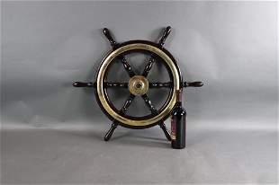 SHIPS WHEEL WITH BRASS TRIM