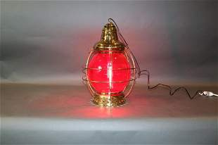 BRASS ONION LIGHT WITH RED GLASS
