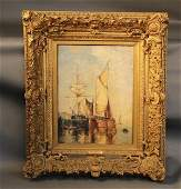 Paul Jean Clays Oil Painting, Formerly Owned by J.