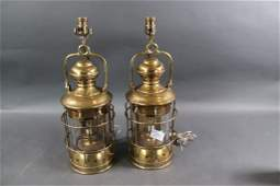Pair of Solid Brass Ships Lamps