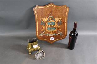 WOOD PLACQUE AND BRASS URN