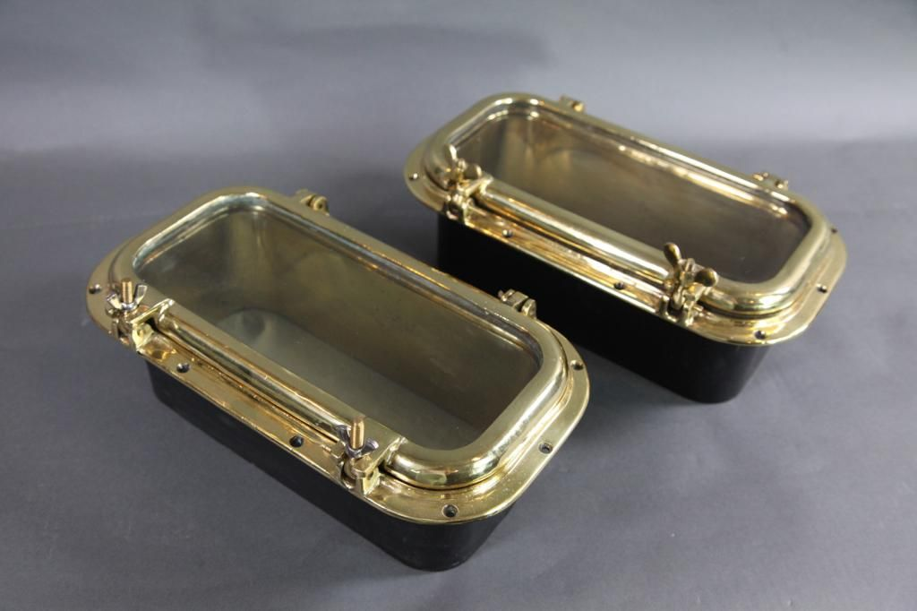 PAIR OF SOLID BRASS SHIP PORTHOLES