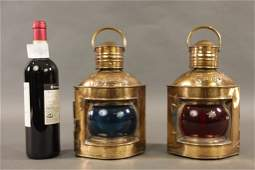 BRASS PORT AND STARBOARD SHIP LANTERNS