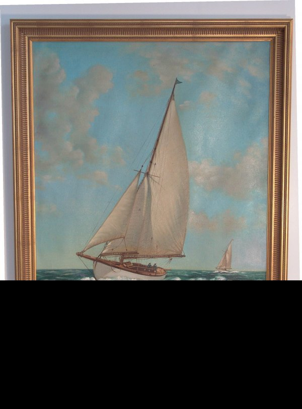 1002: Oil on canvas of a yacht.
