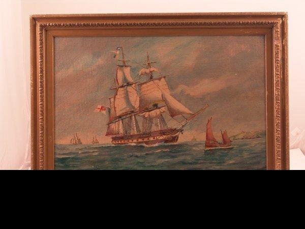 1022: JW Hardcastle painting of a frigate.