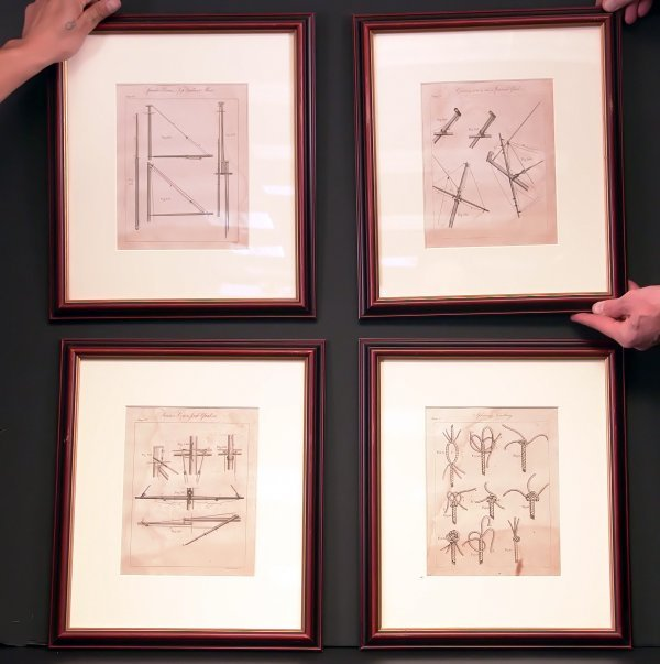 1083: Four 19th century rigging prints.