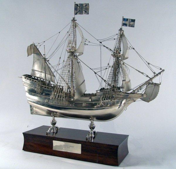"1161: 329 ounce, sterling silver model of ""Mayflower"""
