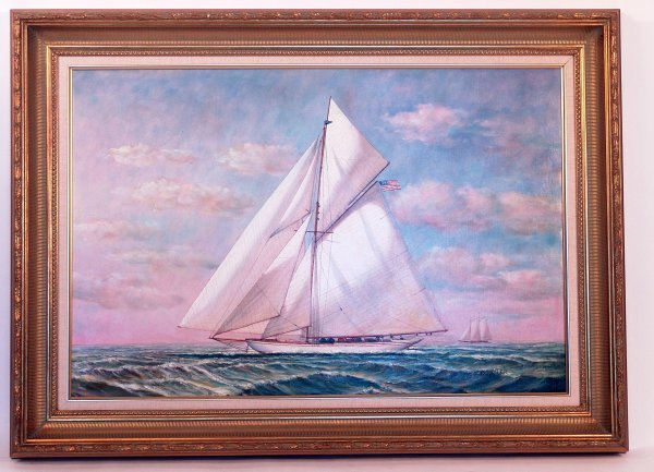 "1162: Painting of New York Yacht Club yacht ""Defender""."