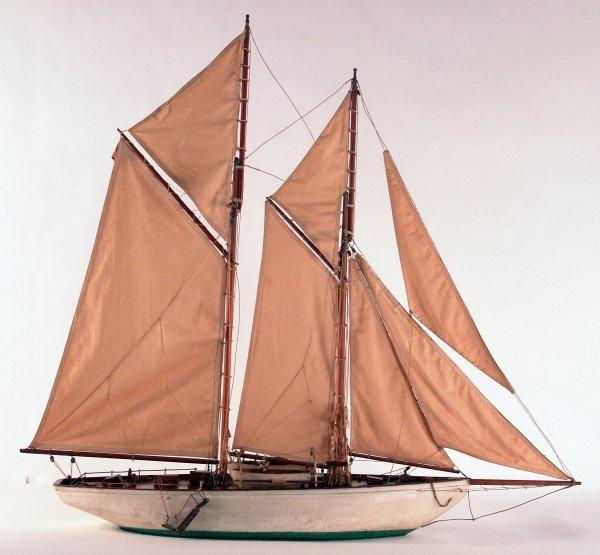 1185: Antique schooner yacht model.