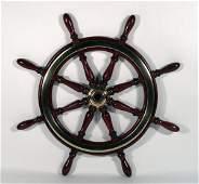 1247 Mahogany and brass yacht wheel