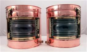 1311 Copper and brass port and starboard lanterns