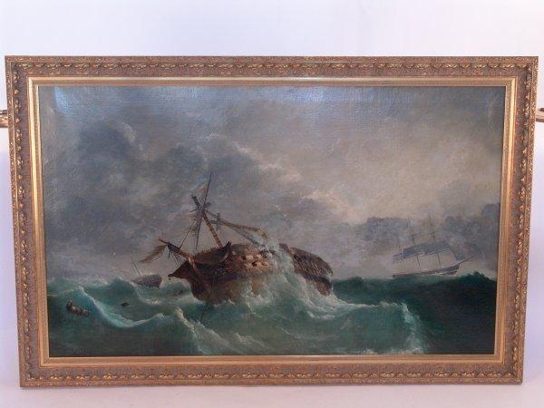 2102: 19th century oil on canvas of a shipwreck scene a