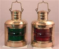 2138 Solid brass pair of port and starboard lanterns