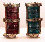 2303 Pair of brass port and starboard lanterns