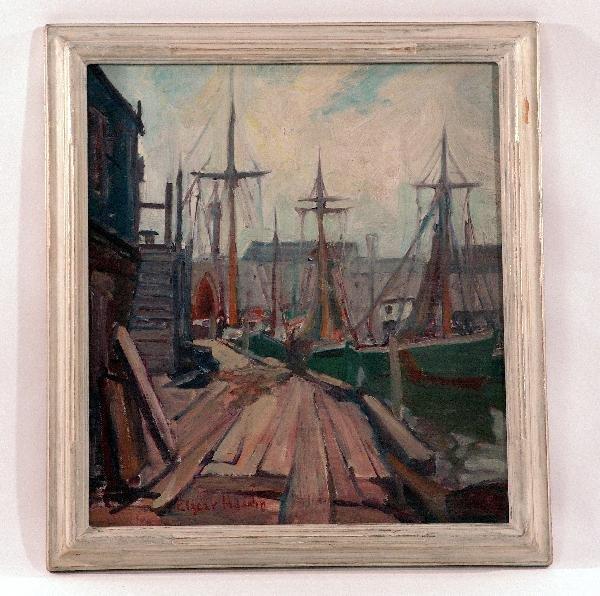 1017: Painting of fishing trawlers