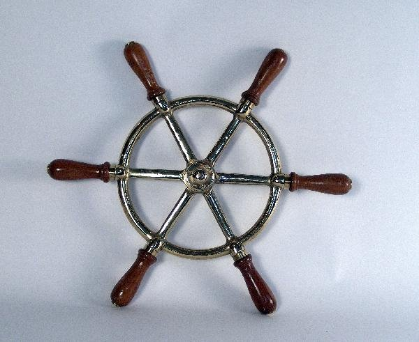1018: Solid brass yacht wheel with wood handles.