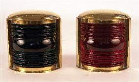 1042 Pair of solid brass port and starboard lanterns