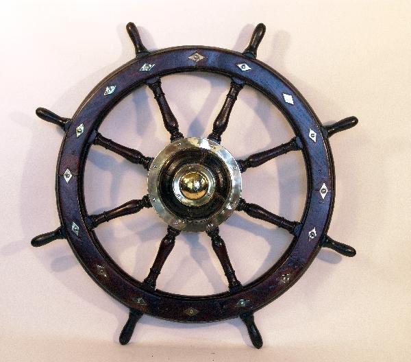 1053: 19th century ship's wheel with brass inlay