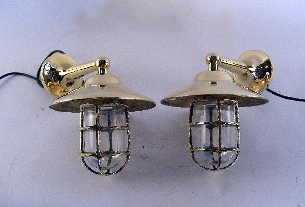 1058: Pair of solid brass companionway lamps