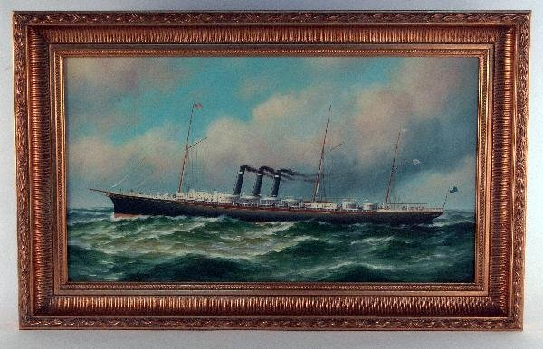 """1063: Oil on canvas of steamship """"City of New York"""""""
