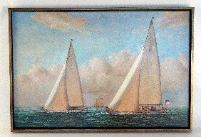 Oil On Canvas Of Twelve Meter Yachts.